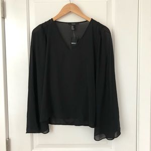 Forever 21 Long Sleeve Black Top